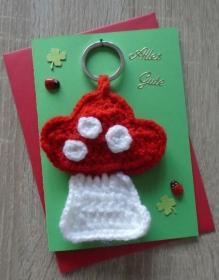 Schlüsselanhänger / Taschenanhänger Fliegenpilz inkl. Grußkarte und Briefumschlag (rot-weiß-grün) - Handarbeit kaufen