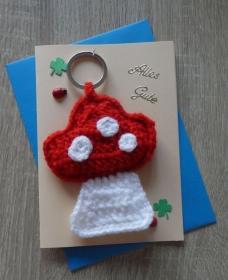 Schlüsselanhänger / Taschenanhänger Fliegenpilz inkl. Grußkarte und Briefumschlag (rot-weiß-aprikot-blau-grün) - Handarbeit kaufen