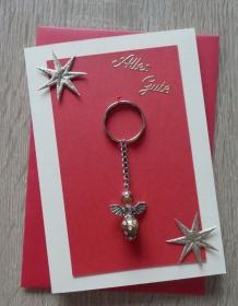Schlüsselanhänger Engel inkl. Grußkarte und Briefumschlag (rot-gold-beige) - Handarbeit kaufen
