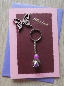 Schlüsselanhänger Engel inkl. Grußkarte und Briefumschlag (rosa-lila) - Handarbeit kaufen