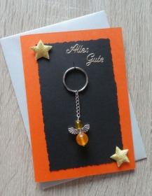 Schlüsselanhänger Engel inkl. Grußkarte und Briefumschlag (orange, schwarz, grau) - Handarbeit kaufen