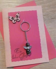 Schlüsselanhänger Engel inkl. Grußkarte und Briefumschlag (rosa/pink/) - Handarbeit kaufen