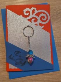 Schlüsselanhänger Engel inkl. Grußkarte und Briefumschlag (rot/blau/silber) - Handarbeit kaufen