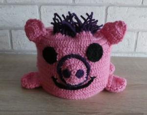 Gehäkelter Klopapierhut - Schweinchen - rosa - Handarbeit kaufen