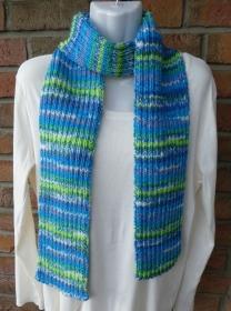 gestrickter Schal blau-türkis-grün (Länge 172 cm) - Handarbeit kaufen