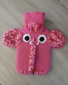Gestrickter Wärmflaschenbezug inkl. Wärmflasche - Elefant pink-rosa-orange-rot - Handarbeit kaufen