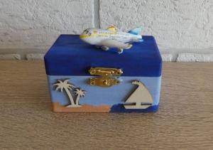Geschenkverpackung Holztruhe - Flugreise / Urlaub - Handarbeit kaufen