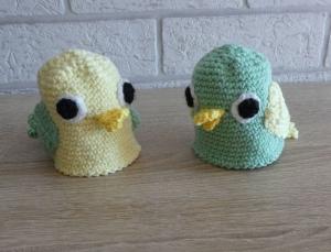 2 gehäkelte Eierwärmer -Vögel - hellgelb/hellgrün - Handarbeit kaufen
