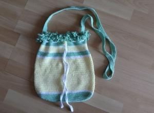 Gehäkelte Tasche/Beutel zum Umhängen - aus Baumwolle - gelb-weiß-grün - Handarbeit kaufen