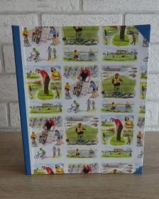 Handgefertigtes Ringbuch für DIN A5 aus Pappe, Papier und Buchleinen - Motiv: Sport (Golf, Radfahren, Angeln)