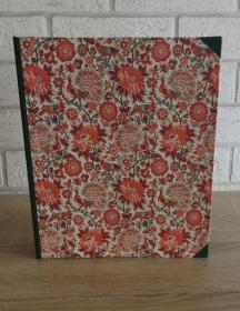 Handgefertigtes Ringbuch für DIN A5 aus Pappe, Papier und Buchleinen - Motiv: Blumen, Vögel