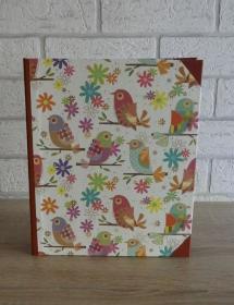 Handgefertigtes Ringbuch für DIN A5 aus Pappe, Papier und Buchleinen - Motiv: Vögel