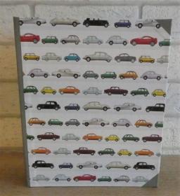 Handgefertigtes Ringbuch für DIN A5 aus Pappe, Papier und Buchleinen - Motiv: Autos
