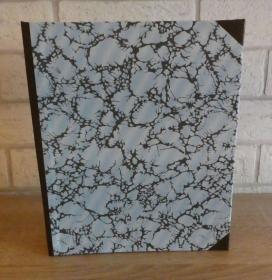 Handgefertigtes Ringbuch für DIN A5 aus Pappe, Papier und Buchleinen - blau, braun, grau