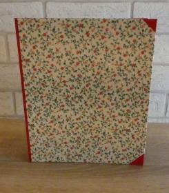 Handgefertigtes Ringbuch für DIN A5 aus Pappe, Papier und Buchleinen - Motiv: Blümchen rot/gelb - Handarbeit kaufen