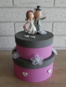 Geldgeschenkverpackung zweistöckige Torte mit Brautpaar und Verzierungen (rosa/grau)