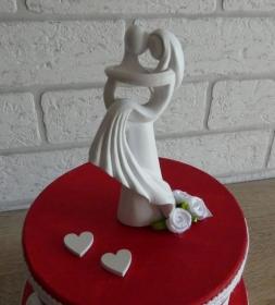 Geldgeschenkverpackung zweistöckige Torte mit Brautpaar und Verzierungen (rot/weiß)