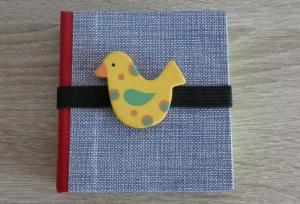 Hangefertigtes Haftnotizzettelbüchlein aus Papier und Buchleinen - blau-rot mit Vogel - Handarbeit kaufen