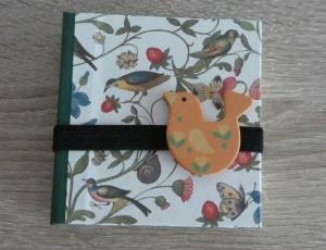 Hangefertigtes Haftnotizzettelbüchlein aus Papier und Buchleinen - Pflanzen und Vögel - Handarbeit kaufen