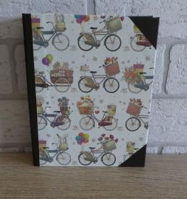 Handgefertigtes Ringbuch für DIN A6 aus Pappe, Papier und Buchleinen - Motiv:Fahrrad - Handarbeit kaufen