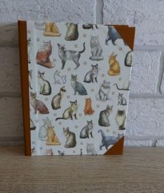 Handgefertigtes Ringbuch für DIN A6 aus Pappe, Papier und Buchleinen - Motiv: Katzen - Handarbeit kaufen