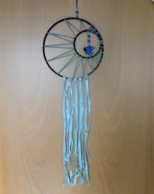 Traumfänger türkis/blau/dunkelblau mit Fisch - Handarbeit kaufen
