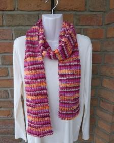 gestrickter Schal pink-lila-orange,beige-grau (Länge 183 cm)  - Handarbeit kaufen