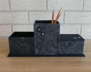 handgefertigter Schreibtischorganizer - blau - Handarbeit kaufen