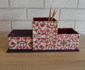 handgefertigter Schreibtischorganizer - lila, rosa, weiß, rot, gold - Handarbeit kaufen