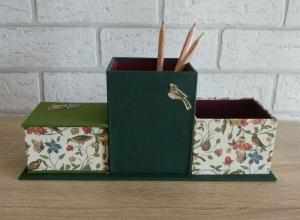 handgefertigter Schreibtischorganizer - Natur (Vögel, Pflanzen, Schmetterlinge) - Handarbeit kaufen