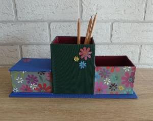 handgefertigter Schreibtischorganizer - Blumen (bunt) - Handarbeit kaufen