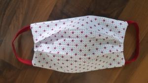 Waschbare Behelfs-Mund- und Nasenmaske 1 Stück Baumwolle doppellagig maritim rot genäht kaufen