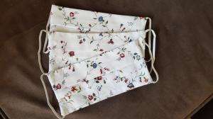 ! Nachschub ist in Arbeit !Waschbare Behelfs-Mund- und Nasenmaske  3 Stück Baumwolle doppellagig weiß Blumen genäht kaufen