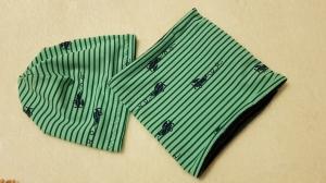 Beanie und Loop mintgrün/dunkelblau genäht Gr. 48/50 kaufen öko-tex