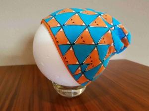 Sale Handgefertig Mütze Beanie Kopfbedeckung doppellagig türkis orange Füchse Gr. 41/42 Herbst  Bio