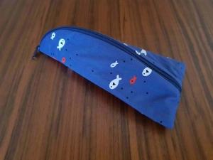 Handgefertigt Stiftemäppchen Universalmäppchen Federmäppchen Utensilo  Brillenetui Etui Krimskram Geschenk Maritim Fische