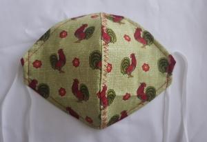 Waschbare leichte Behelfs-Mund- und Nasenmaske 1 Stück Baumwolle Hahn grün genäht kaufen