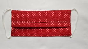 Waschbare Behelfs-Mund- und Nasenmaske 1 Stück Baumwolle doppellagig rot Punkte genäht kaufen