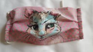 Waschbare Motiv-Behelfs-Mund- und Nasenmaske 1 Stück Katze Baumwolle einlagig genäht kaufen