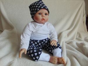 Handgefertigt Babyset Mütze Mitwachshose Hose Pumphose maritim Gr. 56