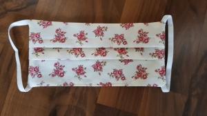 Waschbare Behelfs-Mund- und Nasenmaske 3 Stück Baumwolle doppellagig beige Blumen genäht kaufen