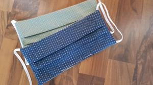 Waschbare Behelfs-Mund- und Nasenmaske 2 Stück Set Baumwolle doppellagig dots blau genäht kaufen