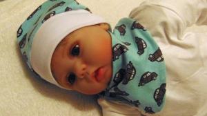 Handgefertigt Babyset Mütze Tuch Auto KU bis 34