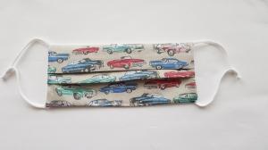 Waschbare Behelfs-Mund- und Nasenmaske 1 Stück Baumwolle doppellagig Retro-Autos – sand genäht kaufen