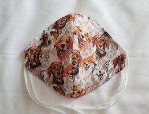 Waschbare Motiv-Behelfs-Mund- und Nasenmaske 1 Stück Hunde Baumwolle einlagig genäht kaufen