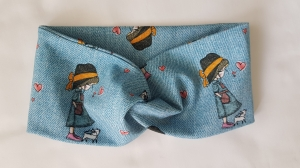 Stirnband Turbanhaarband jeansblau Mädchenmotiv KU 50-54cm genäht Geschenk kaufen