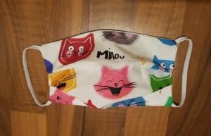 waschbare Behelfs-Mund- und Nasenmaske 1 Stück Baumwolle doppellagig witzige Katzen genäht kaufen