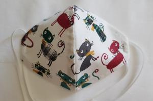 Waschbare Motiv-Behelfs-Mund- und Nasenmaske 1 Stück Katzen Baumwolle einlagig genäht kaufen