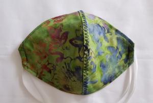 waschbare Behelfs-Mund- und Nasenmaske 1 Stück Batik grün blau Baumwolle einlagig genäht kaufen