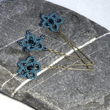 3 er Set Haarnadeln:  grüne Haarsterne aus Baumwolle mit schwarzen und grauen Perlen, U-Pin Messing Manufaktur Lienshöft